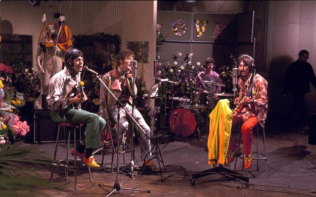 The Beatles at Abbey Road Studios for the 'Our World' Live Television Broadcast, London, Britain - 1967...Mandatory Credit: Photo by DAVID MAGNUS / Rex Features ( 20093a )  THE BEATLES AT ABBEY ROAD STUDIOS FOR THE ' OUR WORLD ' LIVE TELEVISION BROADCAST - 1967  The Beatles at Abbey Road Studios for the 'Our World' Live Television Broadcast, London, Britain - 1967