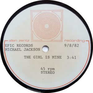 "The Girl Is Mine - Rare 1982 US ultra high-grade methyl cellulose metal based lacquer reference double sided test pressing acetate for the 7"" single cut into a 45RPM 10"" disc"