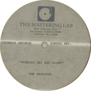 "The Jacksons - Working Day & Night Very scarce high-grade methyl cellulose metal based lacquer double-sided 12"" acetate for the 1982 US single release"