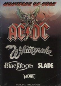 """BLUE OYSTER CULT / WHITESNAKE Monsters Of Rock - Official 1981 UK 13½"""" x 10"""" 36 page tour programme for the festival at Donnington Park which features AC/DC along with Whitesnake, Blue Oyster Cult, Slade, More and Blackfoot. This programme includes nine pages of photographs and information on AC/DC, plus loads of pictures of the rest of the line-up. This copy has been AUTOGRAPHED inside by Eric Bloom, Allen Lanier & Buck Dharma of Blue Oyster Cult & by Bernie Marsden, Micky Moody & Neil Murray of Whitesnake"""